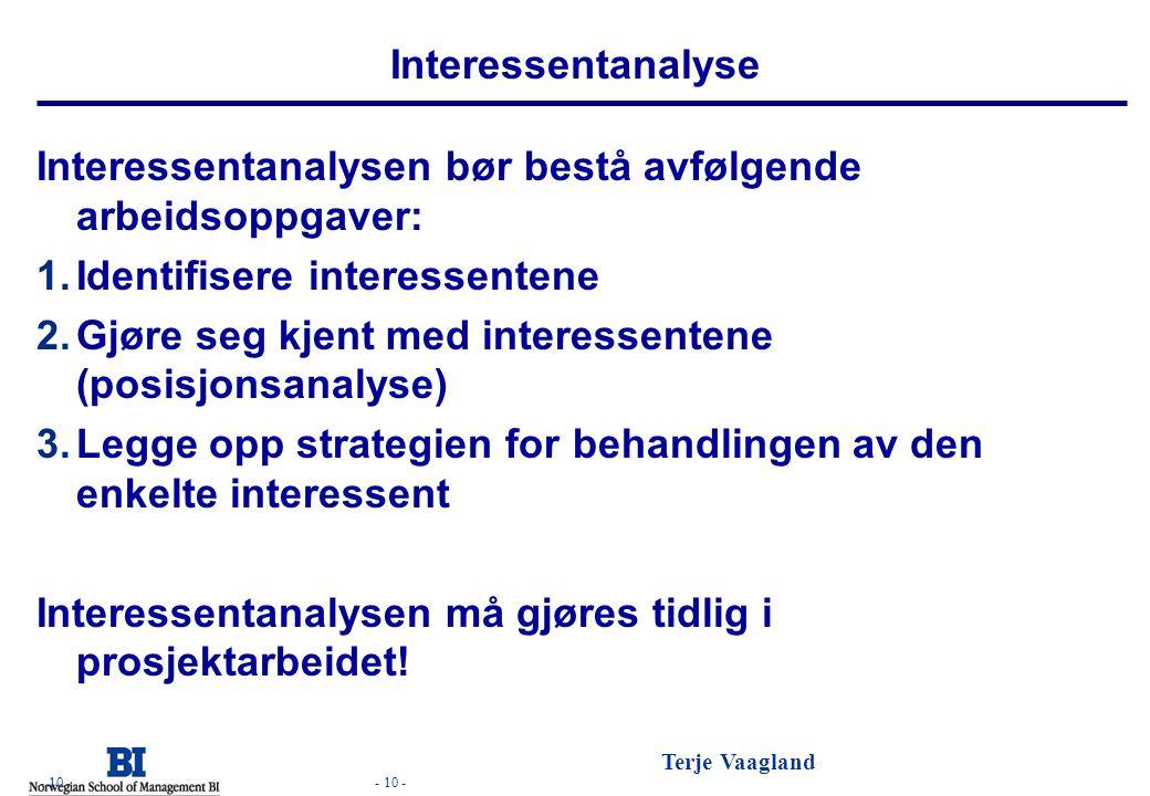 - 10 - Terje Vaagland - 10 - Interessentanalyse Interessentanalysen bør bestå avfølgende arbeidsoppgaver: 1.Identifisere interessentene 2.Gjøre seg kj