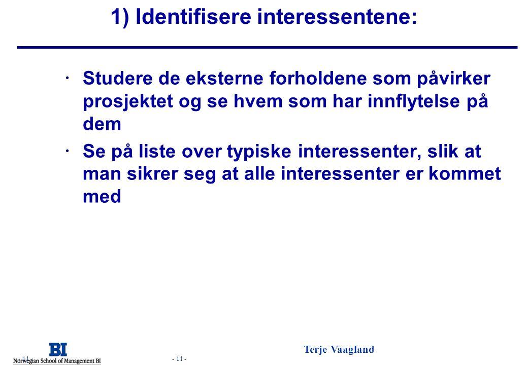 - 11 - Terje Vaagland - 11 - 1) Identifisere interessentene:  Studere de eksterne forholdene som påvirker prosjektet og se hvem som har innflytelse p