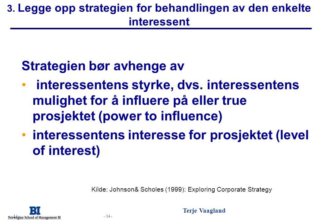- 14 - Terje Vaagland - 14 - 3. Legge opp strategien for behandlingen av den enkelte interessent Strategien bør avhenge av • interessentens styrke, dv