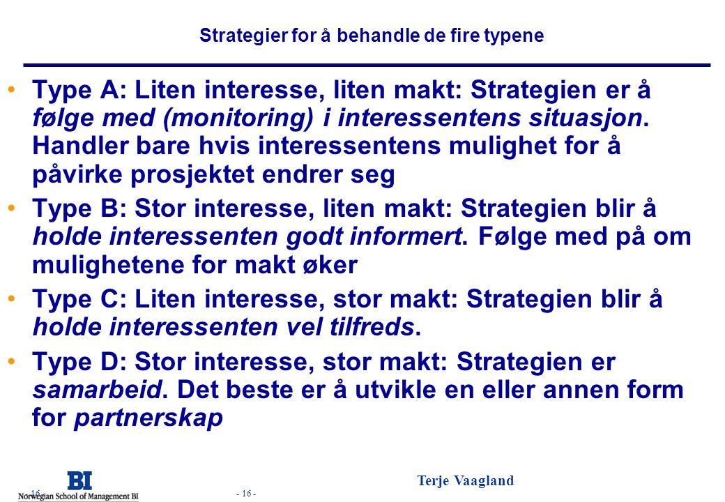 - 16 - Terje Vaagland - 16 - Strategier for å behandle de fire typene •Type A: Liten interesse, liten makt: Strategien er å følge med (monitoring) i i