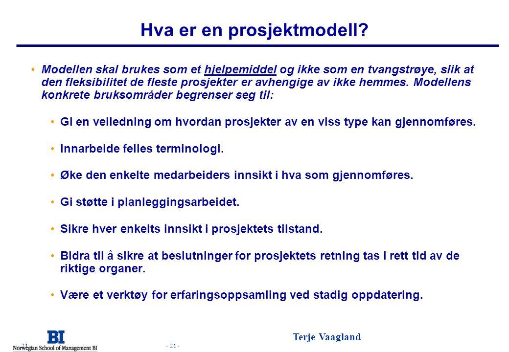 - 21 - Terje Vaagland - 21 - Hva er en prosjektmodell? •Modellen skal brukes som et hjelpemiddel og ikke som en tvangstrøye, slik at den fleksibilitet