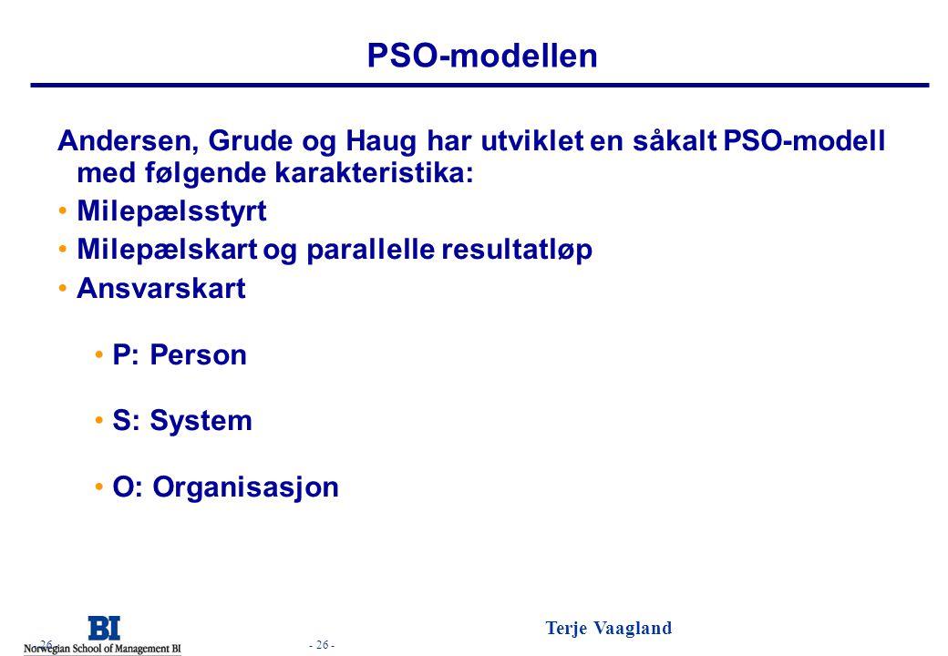 - 26 - Terje Vaagland - 26 - PSO-modellen Andersen, Grude og Haug har utviklet en såkalt PSO-modell med følgende karakteristika: •Milepælsstyrt •Milep