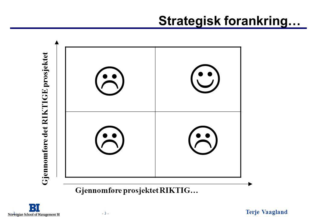- 3 - Terje Vaagland - 3 - Strategisk forankring… Gjennomføre det RIKTIGE prosjektet Gjennomføre prosjektet RIKTIG…    