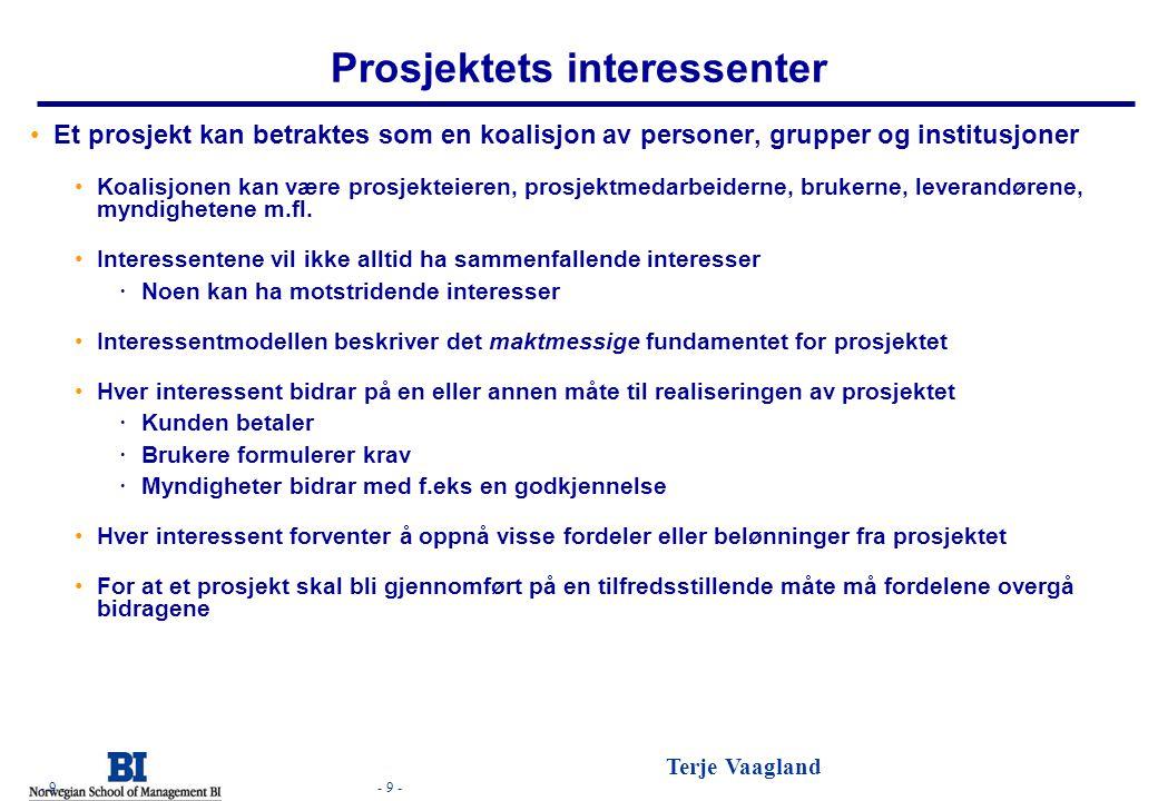 - 9 - Terje Vaagland - 9 - Prosjektets interessenter •Et prosjekt kan betraktes som en koalisjon av personer, grupper og institusjoner •Koalisjonen ka