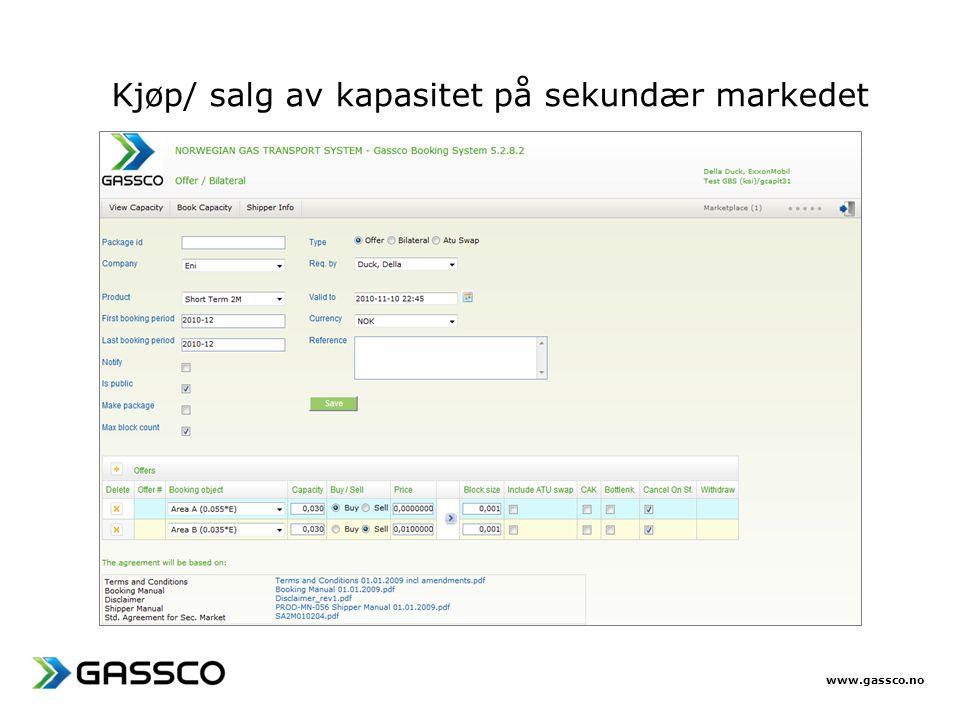 www.gassco.no Kjøp/ salg av kapasitet på sekundær markedet