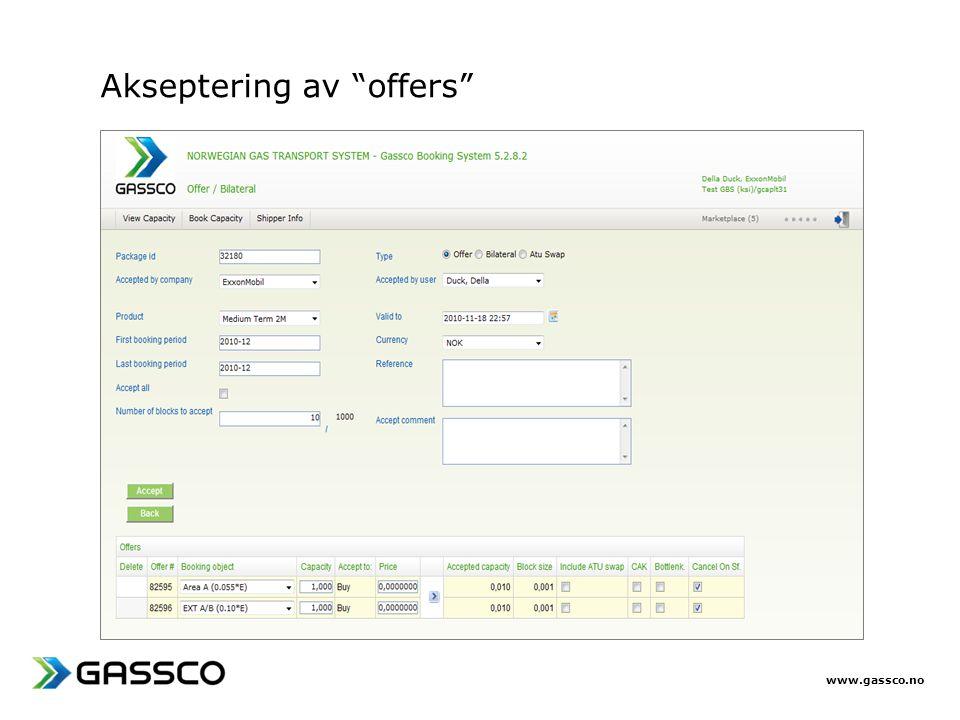 """www.gassco.no Akseptering av """"offers"""""""