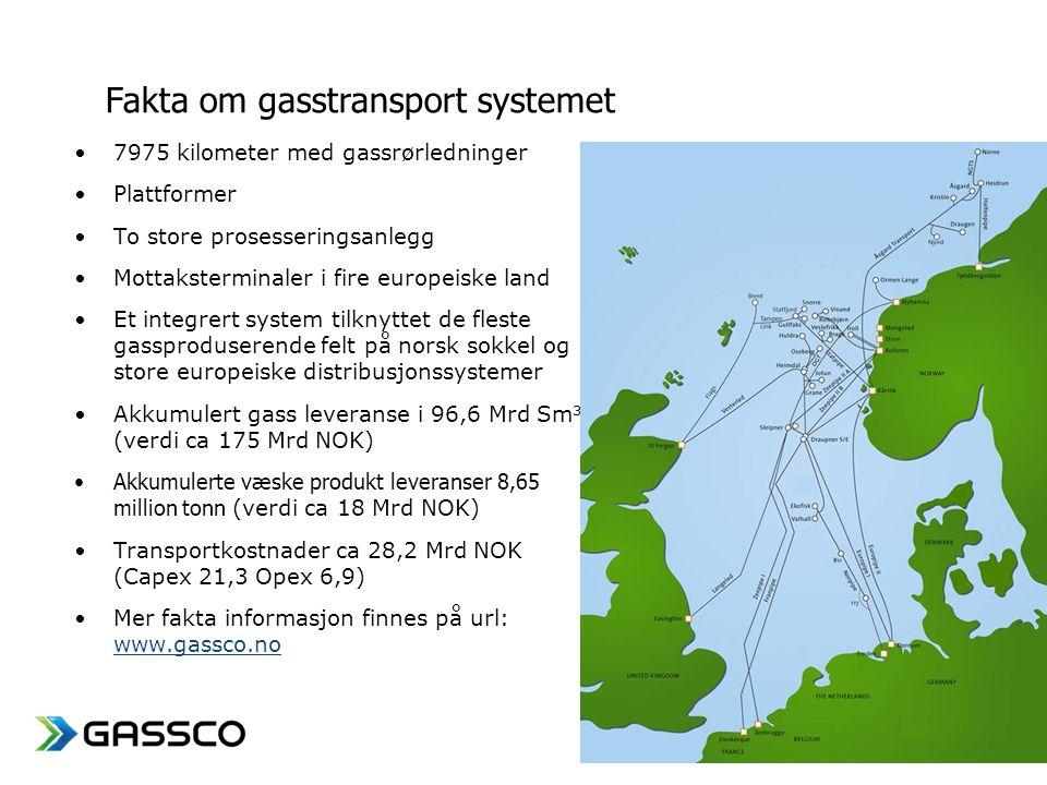 www.gassco.no •7975 kilometer med gassrørledninger •Plattformer •To store prosesseringsanlegg •Mottaksterminaler i fire europeiske land •Et integrert