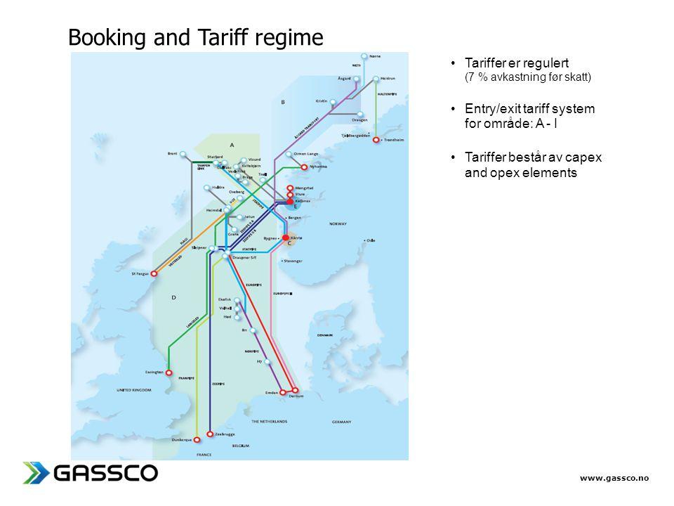 www.gassco.no •Tariffer er regulert (7 % avkastning før skatt) •Entry/exit tariff system for område: A - I •Tariffer består av capex and opex elements