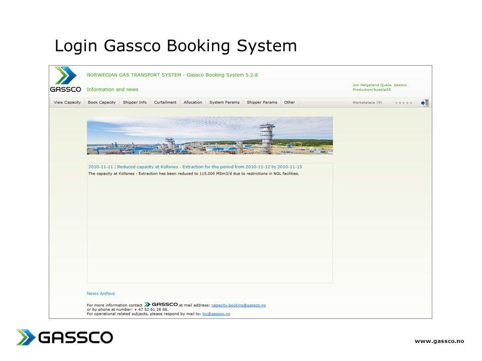 www.gassco.no Login Gassco Booking System