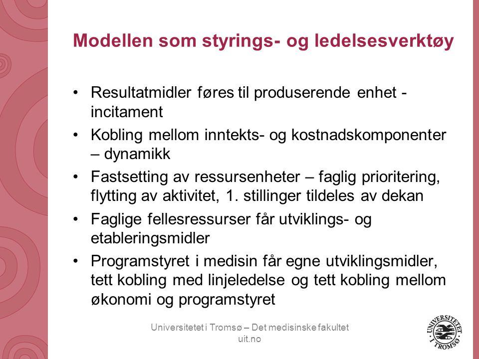 Universitetet i Tromsø – Det medisinske fakultet uit.no Modellen som styrings- og ledelsesverktøy •Resultatmidler føres til produserende enhet - incit
