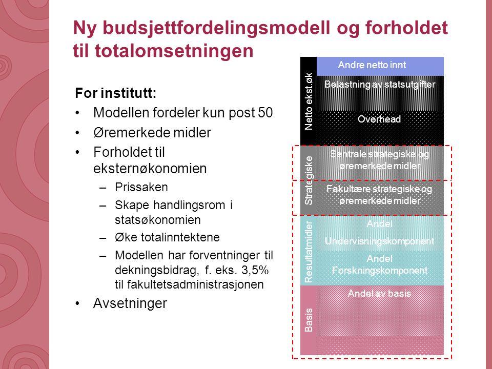Universitetet i Tromsø – Det medisinske fakultet uit.no Ny budsjettfordelingsmodell og forholdet til totalomsetningen For institutt: •Modellen fordele