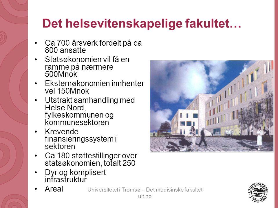 Universitetet i Tromsø – Det medisinske fakultet uit.no Det helsevitenskapelige fakultet… •Ca 700 årsverk fordelt på ca 800 ansatte •Statsøkonomien vi