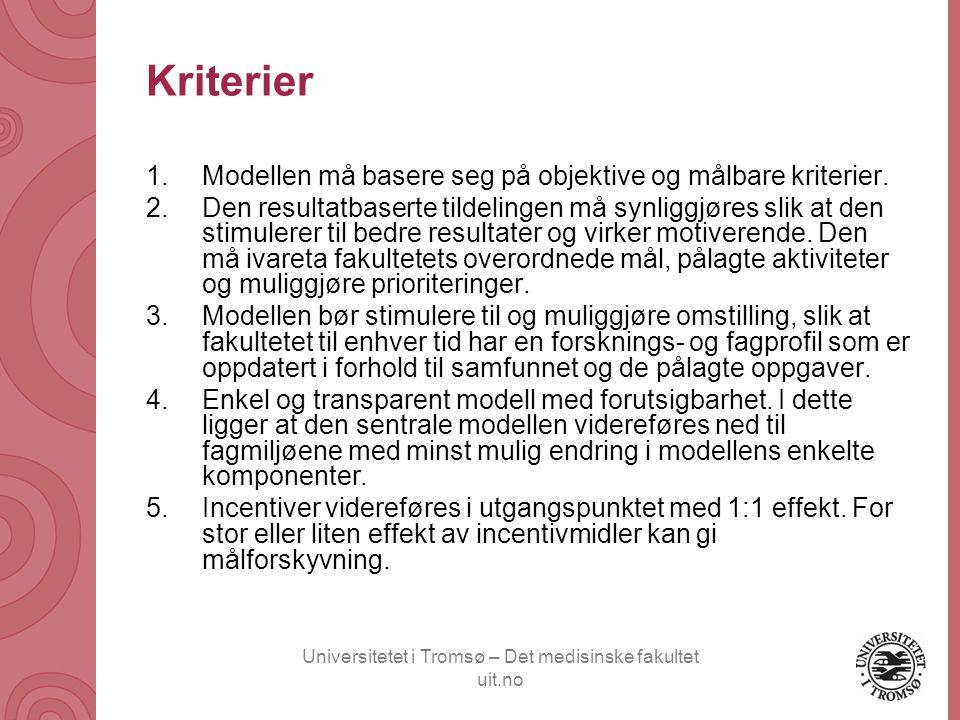 Universitetet i Tromsø – Det medisinske fakultet uit.no Kriterier 1.Modellen må basere seg på objektive og målbare kriterier. 2.Den resultatbaserte ti