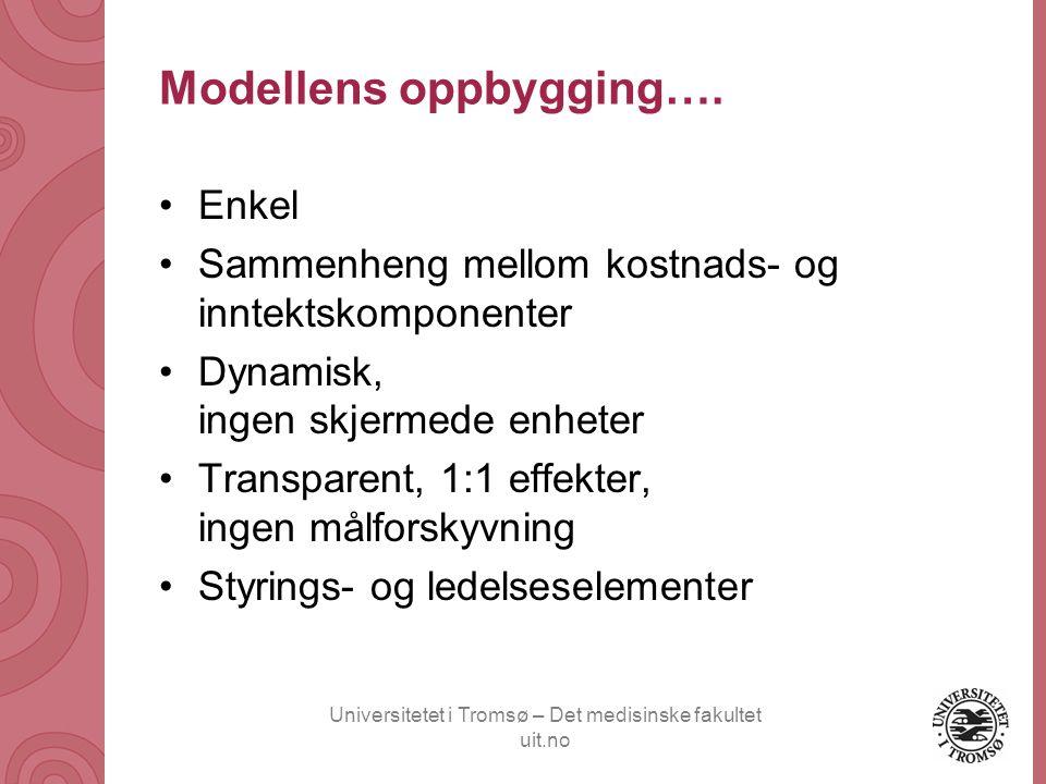 Universitetet i Tromsø – Det medisinske fakultet uit.no Modellens oppbygging…. •Enkel •Sammenheng mellom kostnads- og inntektskomponenter •Dynamisk, i