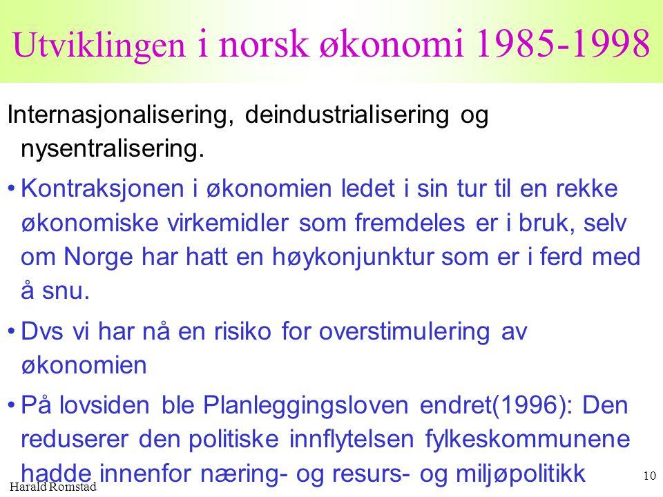 Harald Romstad 10 Utviklingen i norsk økonomi 1985-1998 Internasjonalisering, deindustrialisering og nysentralisering. •Kontraksjonen i økonomien lede
