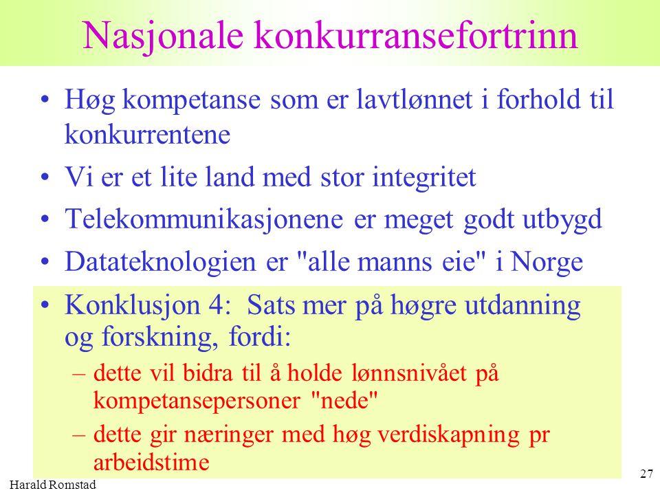 Harald Romstad 27 Nasjonale konkurransefortrinn •Høg kompetanse som er lavtlønnet i forhold til konkurrentene •Vi er et lite land med stor integritet