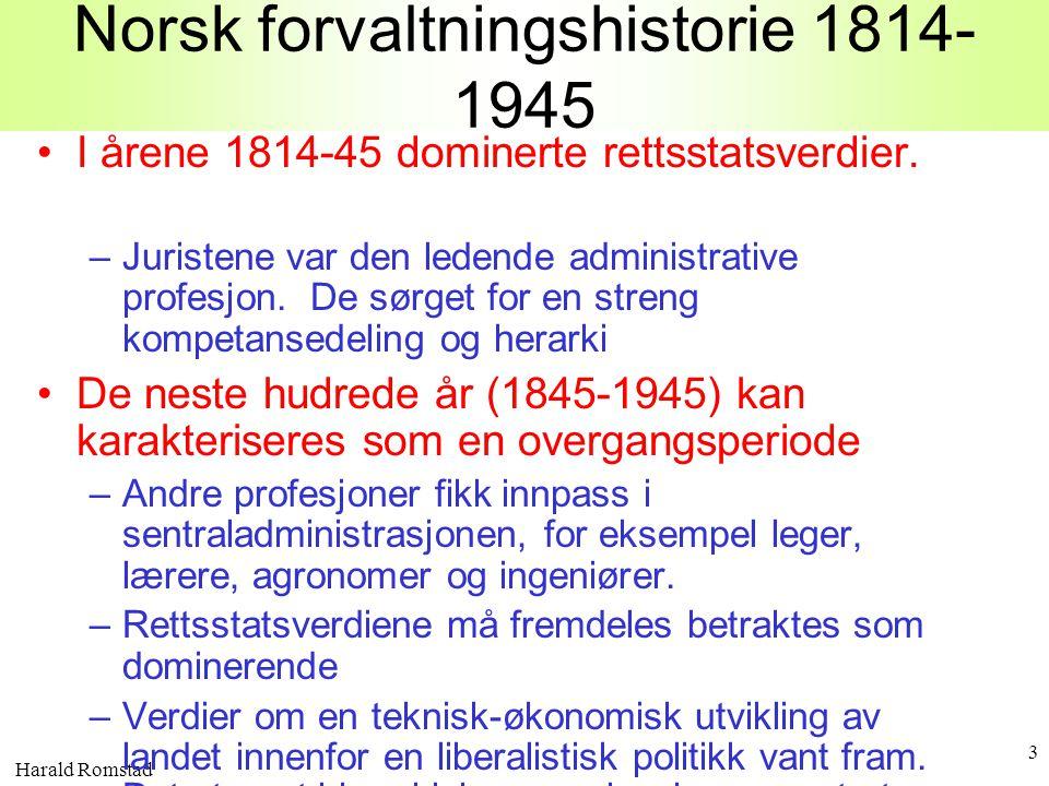 Harald Romstad 3 Norsk forvaltningshistorie 1814- 1945 •I årene 1814-45 dominerte rettsstatsverdier. –Juristene var den ledende administrative profesj