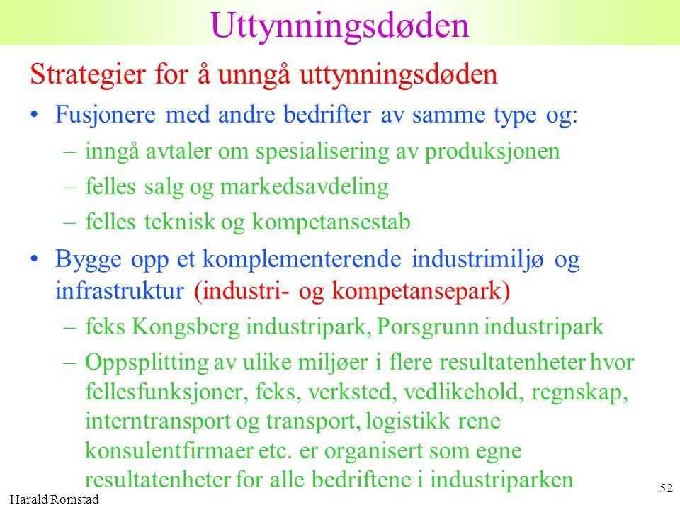 Harald Romstad 52 Strategier for å unngå uttynningsdøden •Fusjonere med andre bedrifter av samme type og: –inngå avtaler om spesialisering av produksj