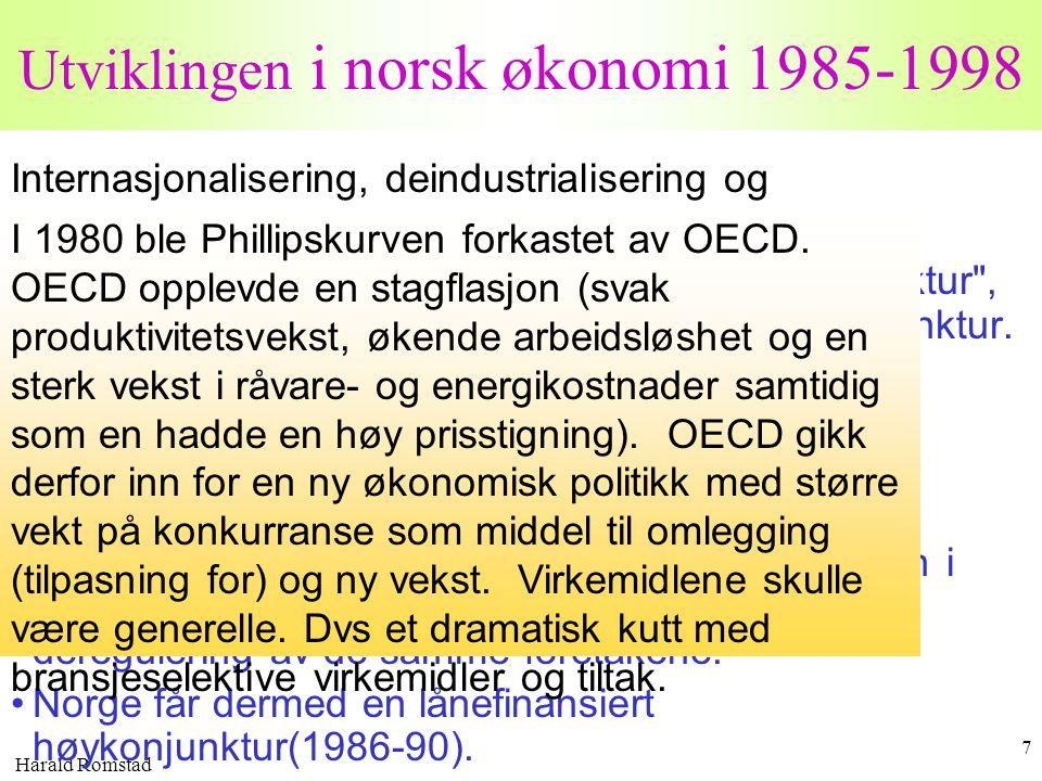 Harald Romstad 7 Utviklingen i norsk økonomi 1985-1998 Internasjonalisering, deindustrialisering og nysentralisering. •Fra 1980 til 1985 opplevde Norg