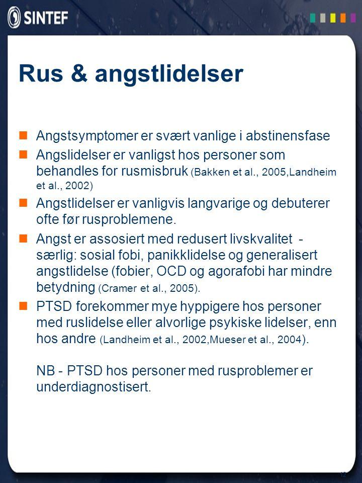 12 Rus & angstlidelser  Angstsymptomer er svært vanlige i abstinensfase  Angslidelser er vanligst hos personer som behandles for rusmisbruk (Bakken