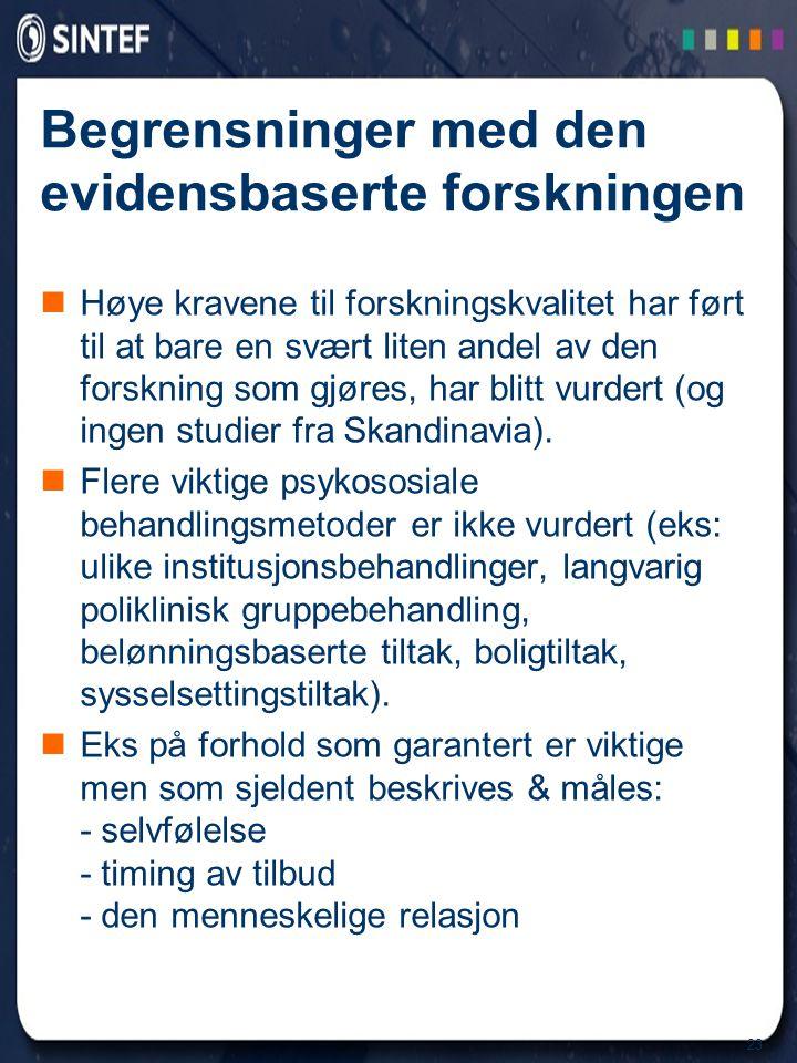 23 Begrensninger med den evidensbaserte forskningen  Høye kravene til forskningskvalitet har ført til at bare en svært liten andel av den forskning s