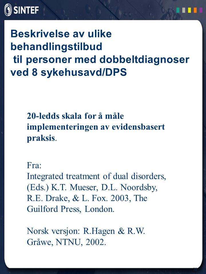 33 Beskrivelse av ulike behandlingstilbud til personer med dobbeltdiagnoser ved 8 sykehusavd/DPS 20-ledds skala for å måle implementeringen av evidens