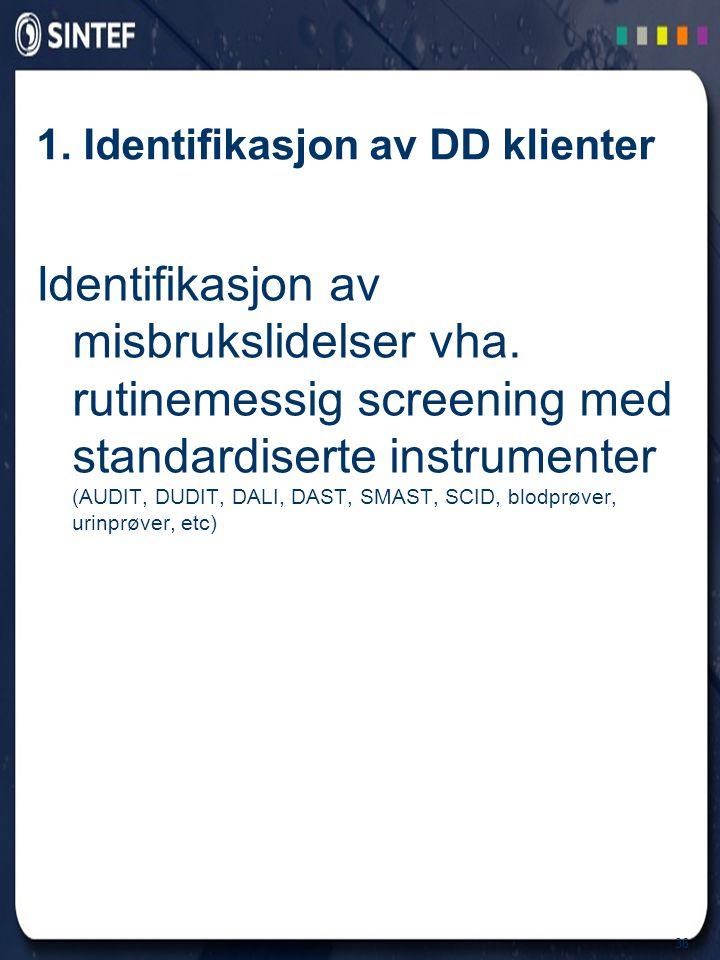 36 1. Identifikasjon av DD klienter Identifikasjon av misbrukslidelser vha. rutinemessig screening med standardiserte instrumenter (AUDIT, DUDIT, DALI