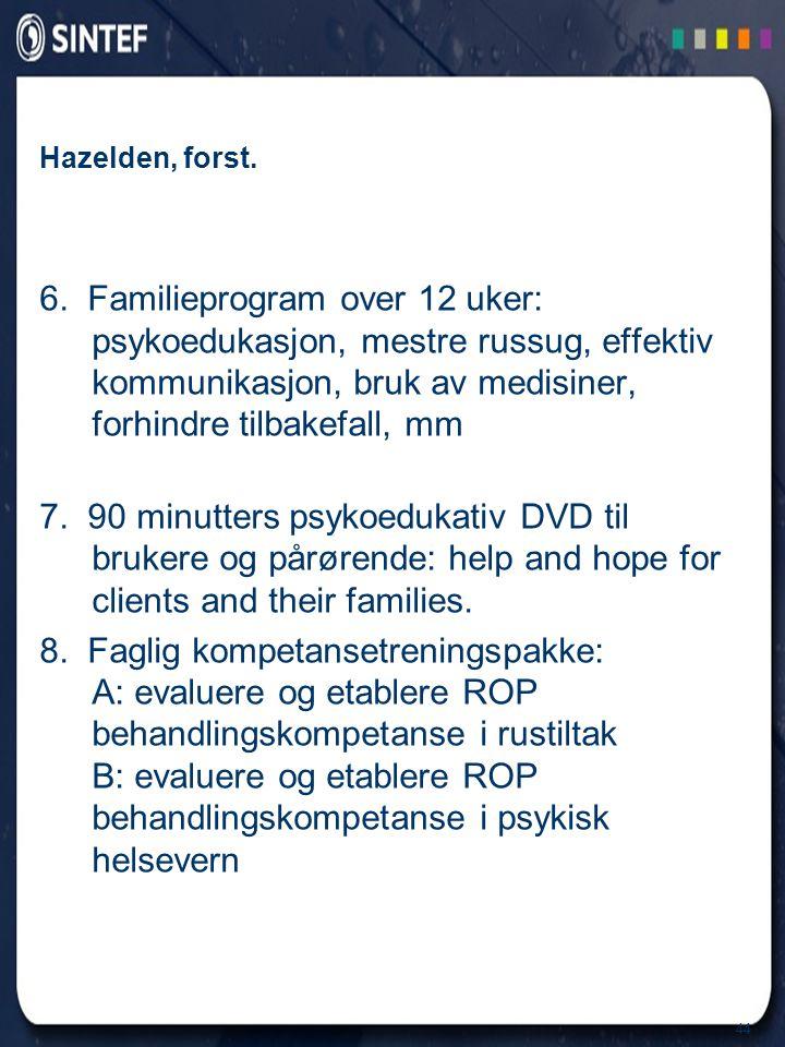 44 Hazelden, forst. 6. Familieprogram over 12 uker: psykoedukasjon, mestre russug, effektiv kommunikasjon, bruk av medisiner, forhindre tilbakefall, m