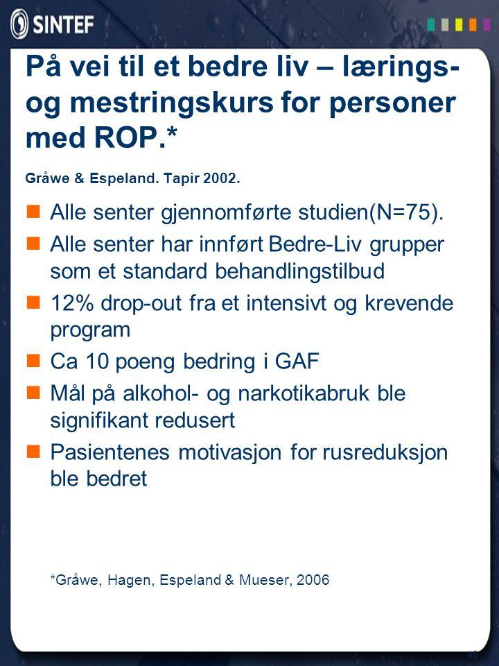 45 På vei til et bedre liv – lærings- og mestringskurs for personer med ROP.* Gråwe & Espeland. Tapir 2002.  Alle senter gjennomførte studien(N=75).