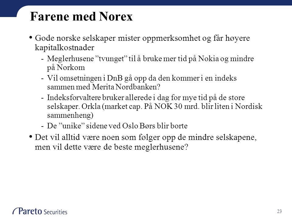 23 Farene med Norex • Gode norske selskaper mister oppmerksomhet og får høyere kapitalkostnader -Meglerhusene tvunget til å bruke mer tid på Nokia og mindre på Norkom -Vil omsetningen i DnB gå opp da den kommer i en indeks sammen med Merita Nordbanken.