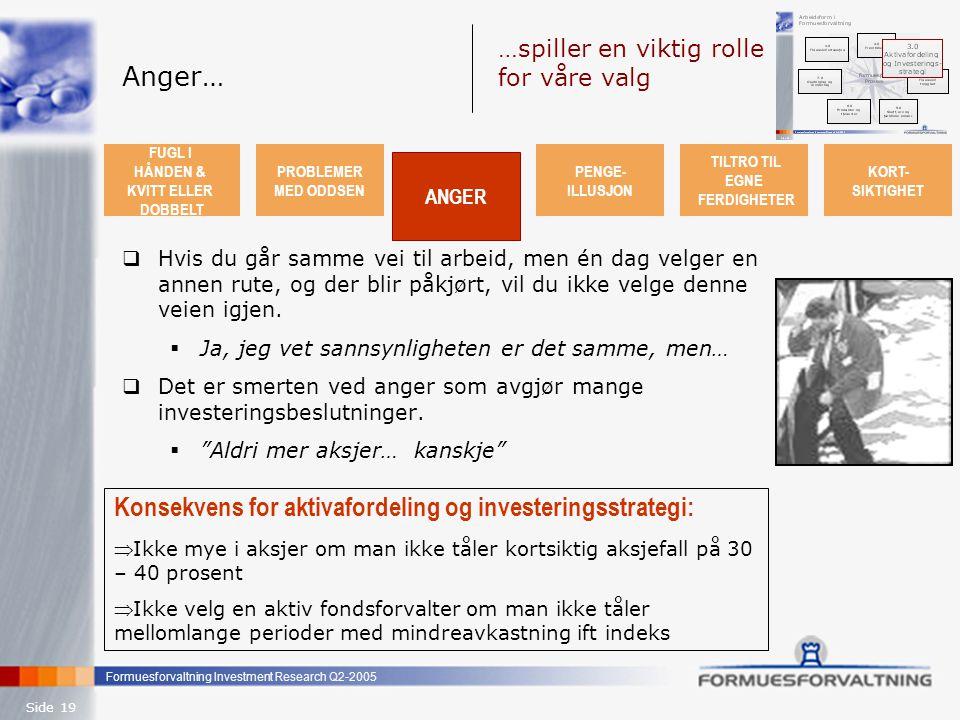 Formuesforvaltning Investment Research Q2-2005 Side 19 Anger…  Hvis du går samme vei til arbeid, men én dag velger en annen rute, og der blir påkjørt