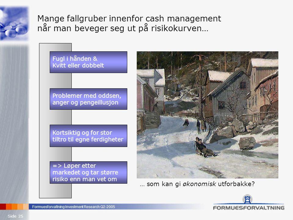 Formuesforvaltning Investment Research Q2-2005 Side 25 Mange fallgruber innenfor cash management når man beveger seg ut på risikokurven… Kortsiktig og