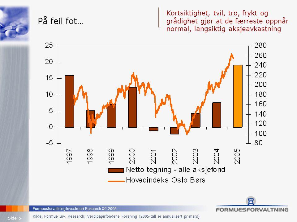 Formuesforvaltning Investment Research Q2-2005 Side 5 Kilde: Formue Inv. Research; Verdipapirfondene Forening (2005-tall er annualisert pr mars) På fe