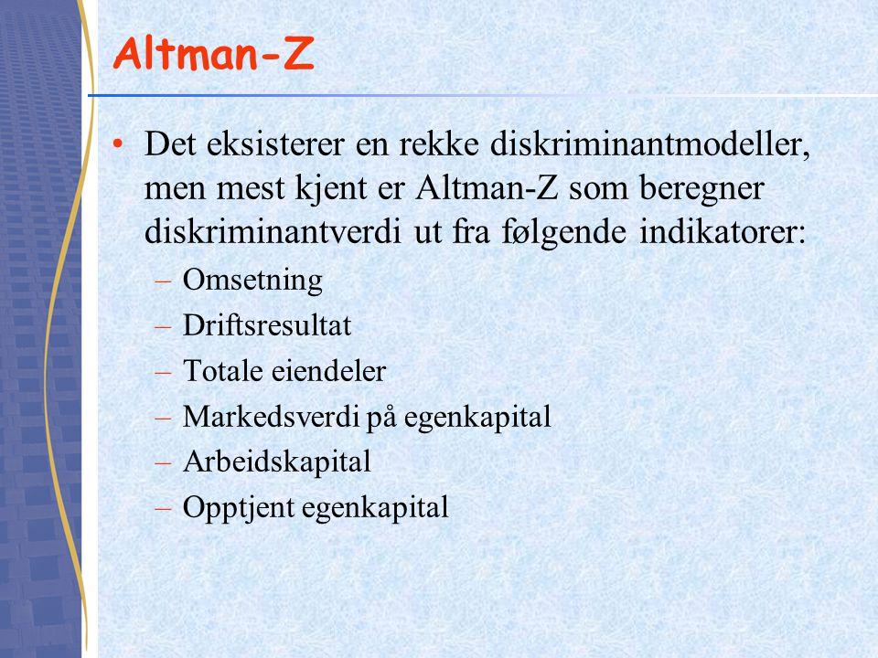Altman-Z •Det eksisterer en rekke diskriminantmodeller, men mest kjent er Altman-Z som beregner diskriminantverdi ut fra følgende indikatorer: –Omsetn