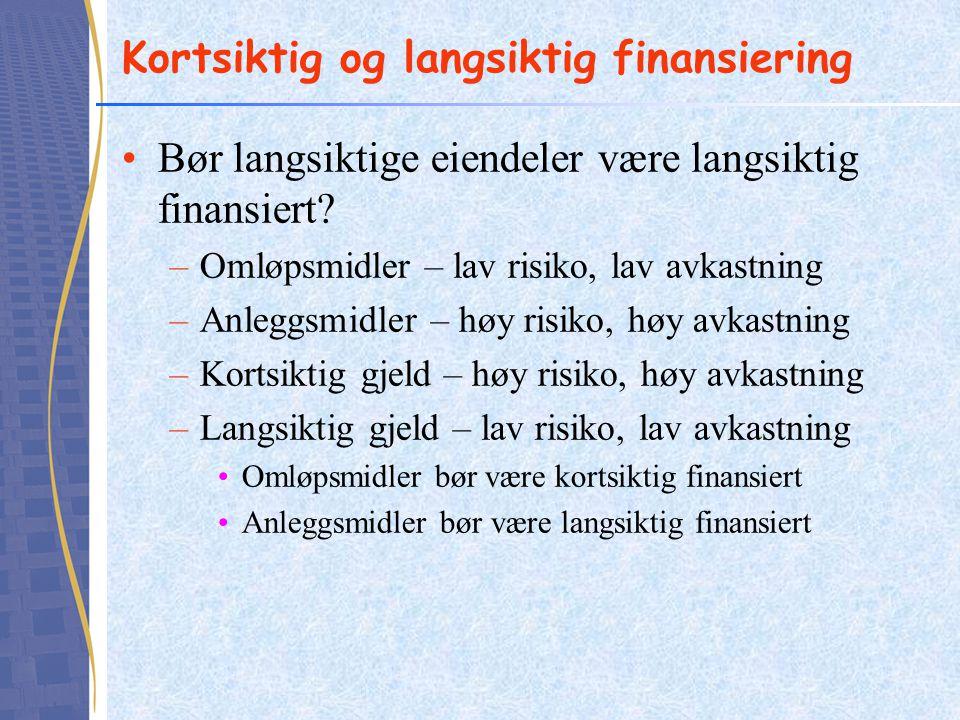 Kortsiktig og langsiktig finansiering •Bør langsiktige eiendeler være langsiktig finansiert? –Omløpsmidler – lav risiko, lav avkastning –Anleggsmidler