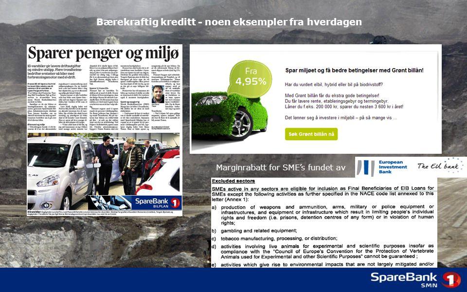 Bærekraftig kreditt - noen eksempler fra hverdagen Marginrabatt for SME's fundet av
