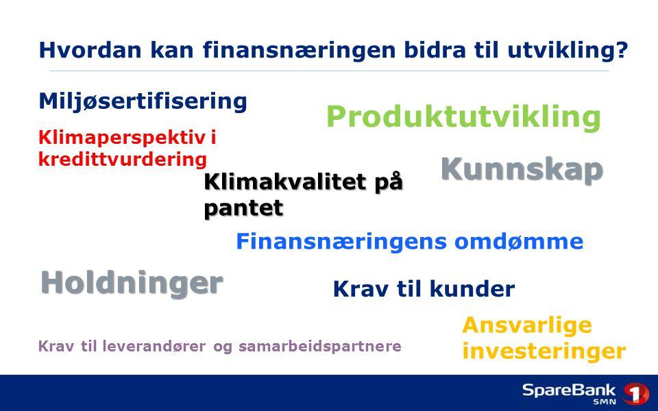 Hvordan kan finansnæringen bidra til utvikling? Krav til kunder Klimakvalitet på pantet Krav til leverandører og samarbeidspartnere Produktutvikling A