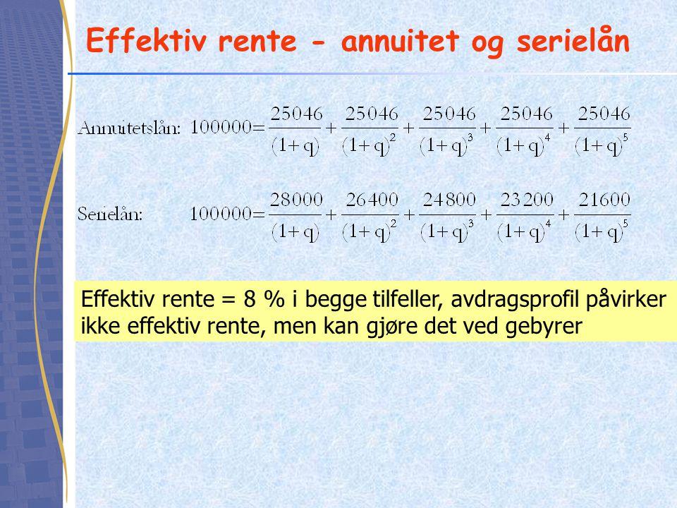 Effektiv rente - annuitet og serielån Effektiv rente = 8 % i begge tilfeller, avdragsprofil påvirker ikke effektiv rente, men kan gjøre det ved gebyre