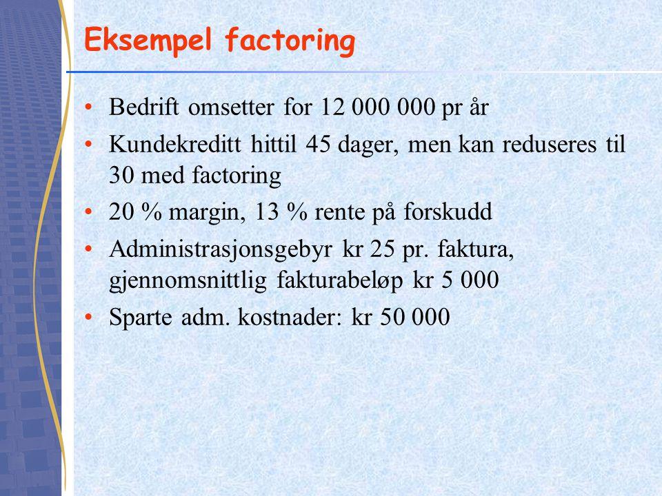 Eksempel factoring •Bedrift omsetter for 12 000 000 pr år •Kundekreditt hittil 45 dager, men kan reduseres til 30 med factoring •20 % margin, 13 % ren