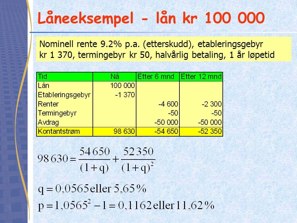Låneeksempel - lån kr 100 000 Nominell rente 9.2% p.a. (etterskudd), etableringsgebyr kr 1 370, termingebyr kr 50, halvårlig betaling, 1 år løpetid