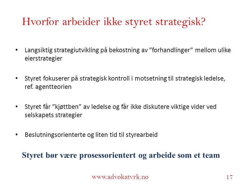 """www.adokatvrk.no www.advokatvrk.no 17 Hvorfor arbeider ikke styret strategisk? • Langsiktig strategiutvikling på bekostning av """"forhandlinger"""" mellom"""