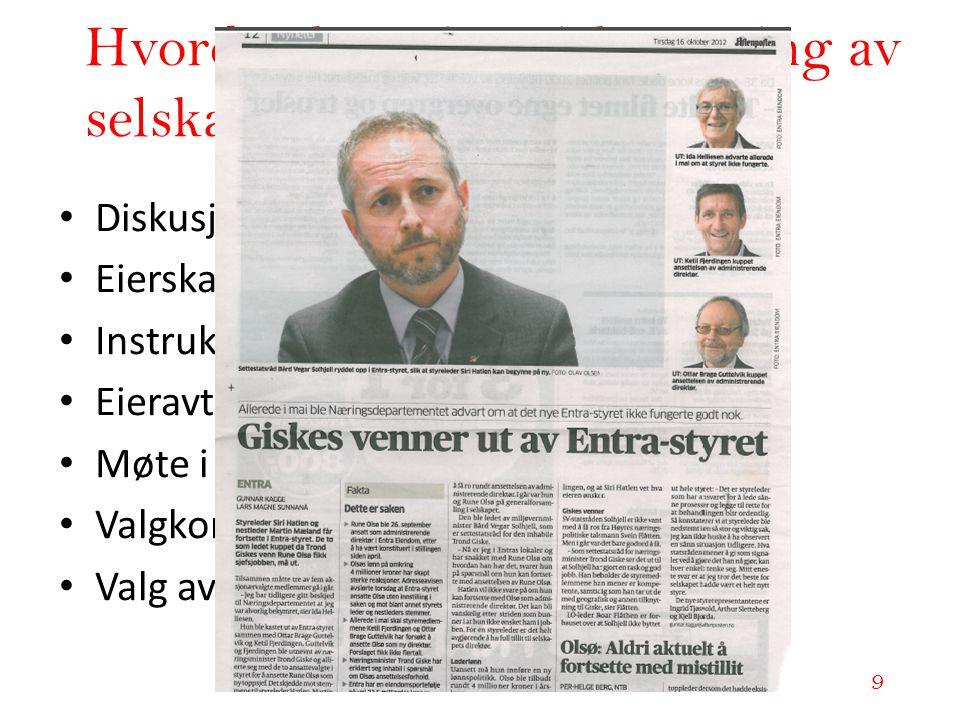 www.adokatvrk.no www.advokatvrk.no 9 Hvordan kan vi påvirke styring av selskaper gjennom eierskap? • Diskusjoner i bystyret • Eierskapsmelding/eierstr