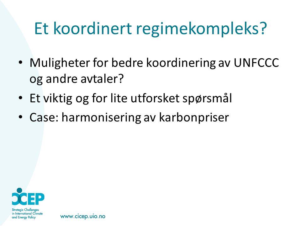 Et koordinert regimekompleks? • Muligheter for bedre koordinering av UNFCCC og andre avtaler? • Et viktig og for lite utforsket spørsmål • Case: harmo