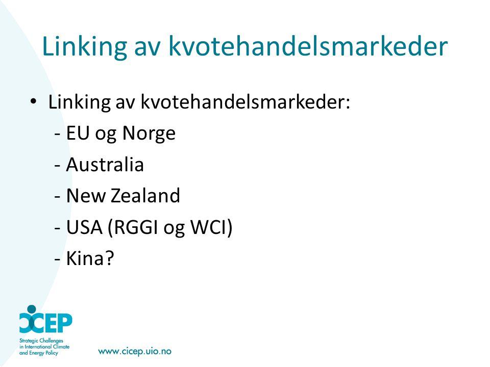 Linking av kvotehandelsmarkeder • Linking av kvotehandelsmarkeder: - EU og Norge - Australia - New Zealand - USA (RGGI og WCI) - Kina?