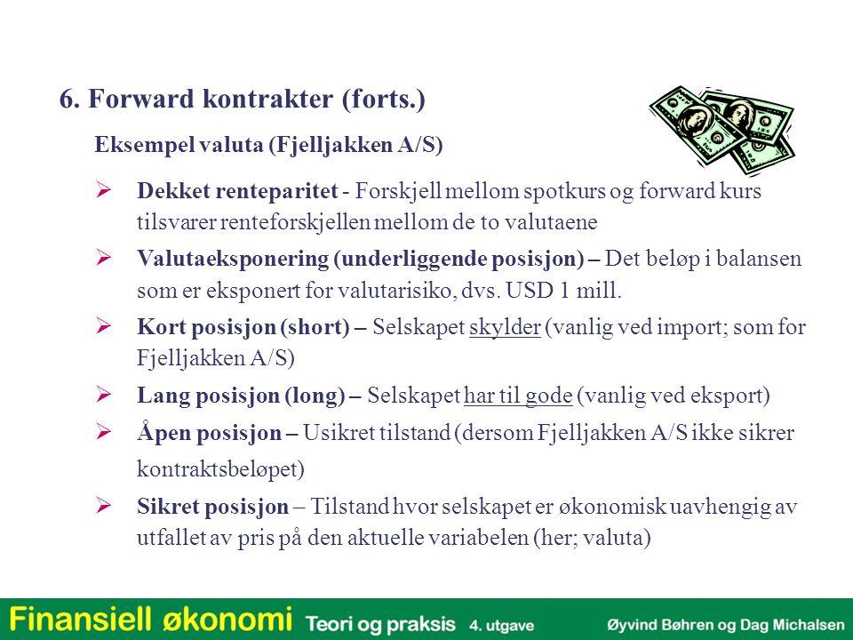  Gevinst/tap ved kjøpt og solgt valutaforward for Fjelljakken A/S Situasjon for selger av forwardkontrakt Situasjon for kjøper av forwardkontrakt Spot kurs = forward-kurs 6.