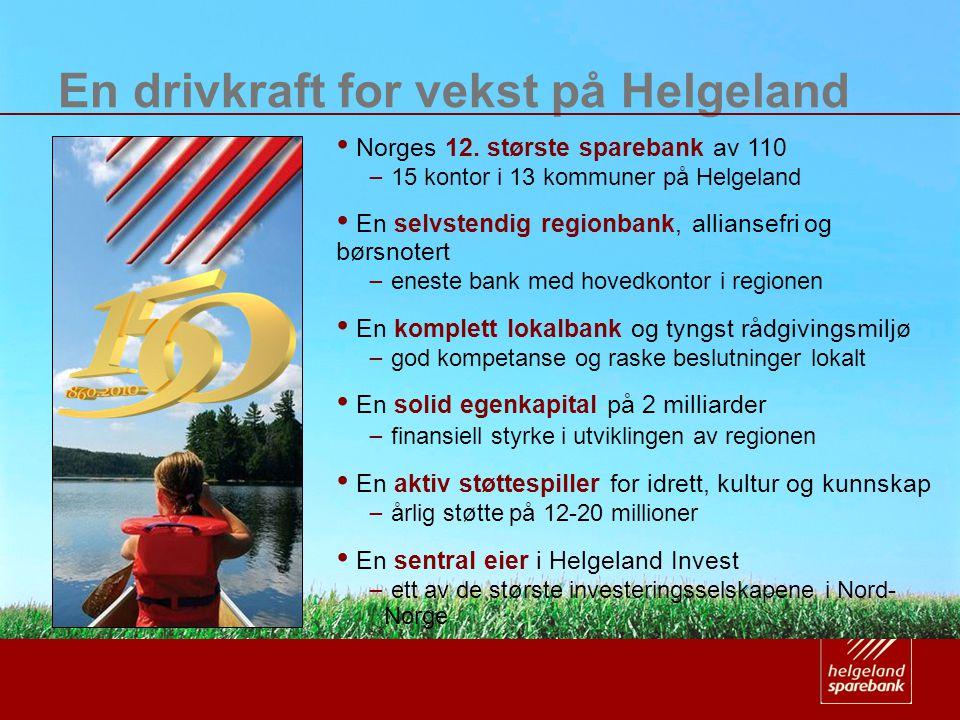 En drivkraft for vekst på Helgeland • Norges 12. største sparebank av 110 ̶ 15 kontor i 13 kommuner på Helgeland • En selvstendig regionbank, allianse