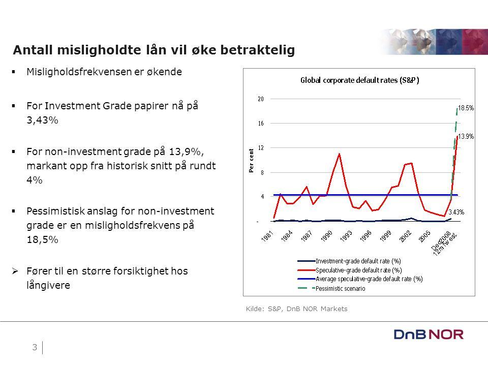 4 Oslo Børs og Volatilitet (2006-09) Kilde: Bloomberg  Aksjeprisene på Oslo Børs er over halvert på kort tid  Volatilitet i verdier og inntjening har vært sterkt økende  Fallende verdier og økt volatilitet i foretakenes inntjening gir seg utslag i mer forsiktige långivere