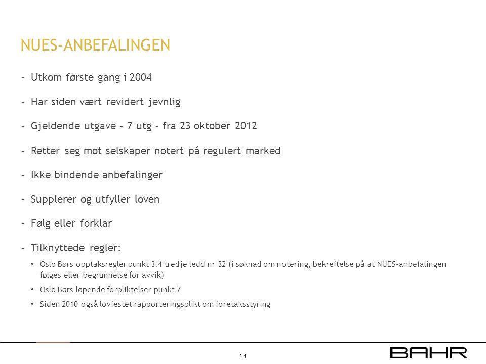 NUES-ANBEFALINGEN - Utkom første gang i 2004 - Har siden vært revidert jevnlig - Gjeldende utgave – 7 utg - fra 23 oktober 2012 - Retter seg mot selsk