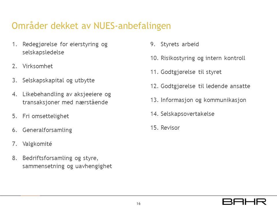 Områder dekket av NUES-anbefalingen 1.Redegjørelse for eierstyring og selskapsledelse 2.Virksomhet 3.Selskapskapital og utbytte 4.Likebehandling av ak