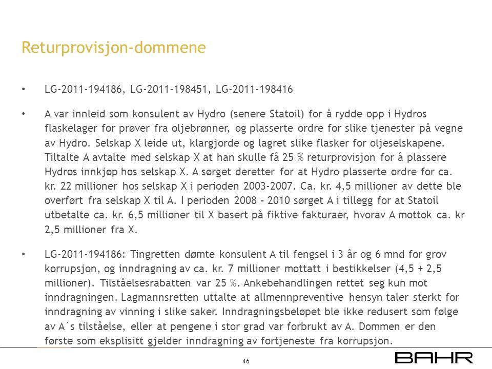 • LG-2011-194186, LG-2011-198451, LG-2011-198416 • A var innleid som konsulent av Hydro (senere Statoil) for å rydde opp i Hydros flaskelager for prøv